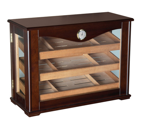 250 Count Cigar Countertop Display Humidor w/ Trays  Dark Mahogany Countertop Display 6 Dividers External Hygrometer 2 Humidifiers Lock & Key 3 Large Removable & Reversible Cedar Trays 4 Glass Sides for 360 Degree Viewing
