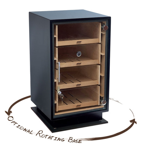 Base Only. Matching Rotating Counter Base (Lazy Susan) for The Manchester  Matching Rotating Counter Base (Lazy Susan) for The Manchester This Item Only Includes the Base (MCHST Humidor not Included) Matte Black Finish  360 Degree Rotating Base Spins Display to Access Cigars