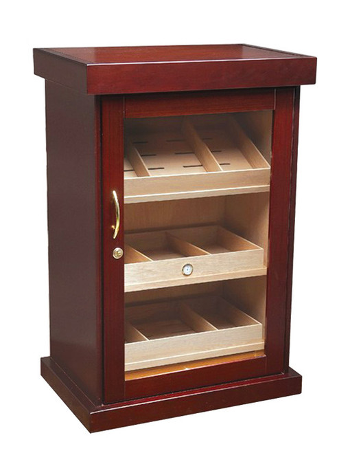 Cherry Finish Spanish Cedar Lined Full Length Framed Glass Door 3 Removable Trays for Flat & Angled Storage Pull Out Drawer 8 Adjustable Dividers 6 Humidifiers & Built In Hygrometer Wiring Port in Rear for Electric Lock & Key Set