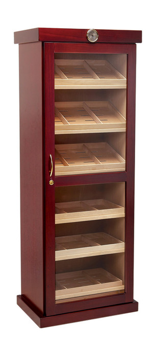 2000 Count Cigar Cabinet Humidor  Cherry Finish Spanish Cedar Lined Full Length Framed Galss Door 6 Removable Trays for Flat & Angled Storage 2 Pull Out Drawers 12 Adjustable Dividers 12 Humidifiers & Built In External Hygrometer Wiring Port In Rear For Electric Lock & Key Set