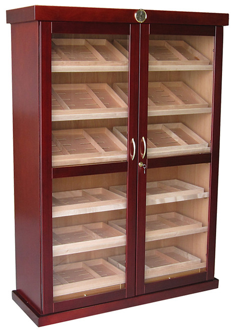 4000 Count Cigar Cabinet Humidor  Cherry Finish Spanish Cedar Lined 2 Full Length Framed Glass Doors 12 Removable Trays 4 Pull Out Drawers 24 Adjustable Dividers 24 Humidifiers Built In External Hygrometer Wiring Port In Rear For Electric Lock & Key Set