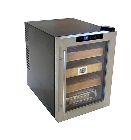 250 Count Electric Cigar Cooler Cabinet Humidor  Stainless Steel Tempered Glass Door Interior Light | Includes Humidification Tray & Sponge Matching Stainless Frame Digital Hygrometer With Battery Hygrometer Displays Humidity & Temperature in Celsius or Fahrenheit Thermoelectric Cooling System | Adjustable Thermostat  3 Removable Sliding Trays | Store Individual Cigars or Entire Boxes