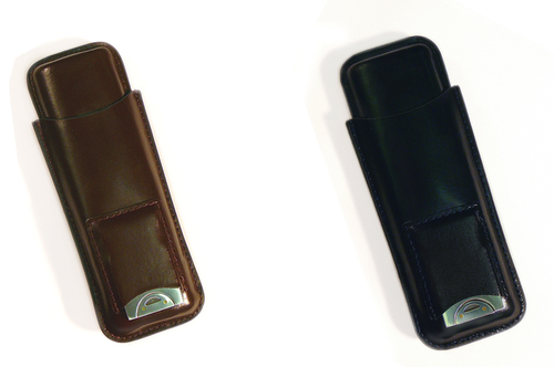 2 Cigar Leather Case w/ Cutter   Holds Two Cigars Built-in Leather Pouch With Cigar Cutter