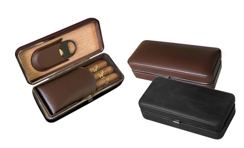 "3 Cigar Folding Leather Travel Case w/ Cutter Snap Lock Closure Interior Fold-Out Magnetic Leather Panel Keeps Cigars Secure Guillotine Cutter Dimensions: 7 1/2"" L x 3 1/4""W x 2 1/8"" H Holds 3 Cigars"