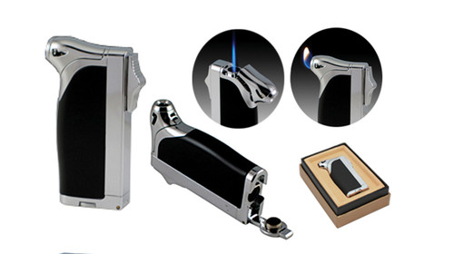 Dual Style Flame Lighter in Gift Box w/ Bullet Cutter (Black)  Dual Style Flame Lighter In Gift Box Push Rigid Ignition Dial Downward to Activate Standard Flame Press Down on Opposite End for Torch Style Flame Retractable Built-In Bullet Cutter Butane Refillable Adjustable Flame Height Available In Black with Chrome