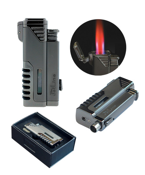 Quad Torch (4 Flames) w/ Punch Cutter in Gift Box (Gun Metal Gray)  Single Lighter in Gift Box Quad Torch (4 Flames) Retractable Built-In Punch Cutter Adjustable Flame Height Butane Refillable