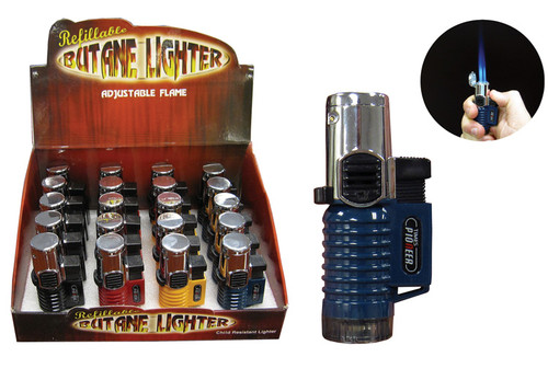 Triple Flame Torch Display Box of 20 (Assorted Colors)  Display Box of 20 Triple Flame Torch Lock For Continuous Flame Wind Resistant Butane Refillable Adjustable Flame Height Available In Assorted Colors