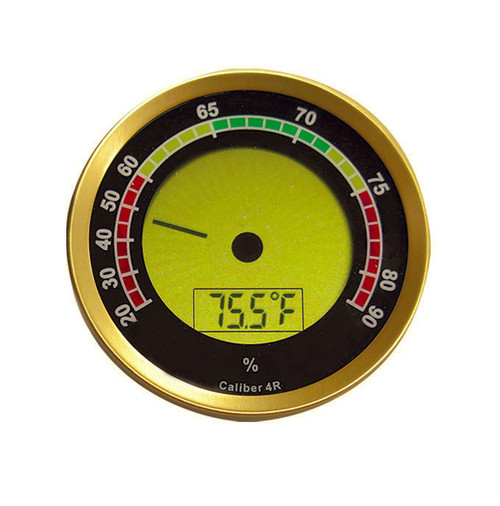 "Round Digital Hygrometer w/ Calibration Feature (Gold)  2 1/4"" in Diameter x .6"" Thick Displays Temp & Humidity Digital Analog Needle Numeric Display Calibration Feature Includes Battery"