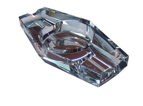 "2 Cigar Hexagon Crystal Ashtray in Gift Box  7 1/4"" L x 3 3/4"" W x 1 1/4"" H"