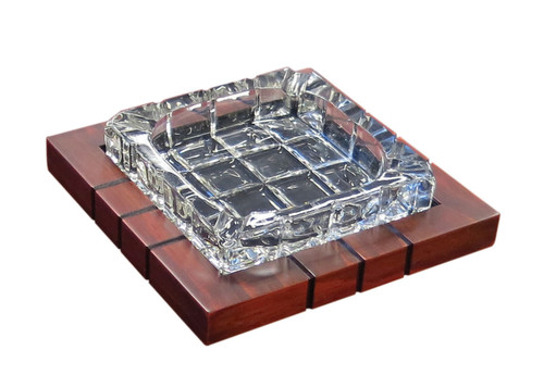 "4 Cigar Cross-Hatched Crystal Ashtray on Wood Base  Golden Mahogany Base Beveled Crystal With Gorgeous Angled Cuts 7.3"" W x 7.3"" D x 1.7"" H"