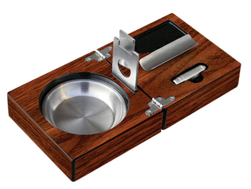 "High Gloss Walnut Folding Ashtray Set w/ Accessories  4-3/4"" W x 4-3/4"" D x 3"" H High Gloss Walnut Finish Stainless Steel Matching Accessories Guillotine Cutter Punch Cutter Cigar Bed Stainless Ash Reservoir"
