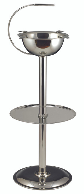 """Stinky Standing Ashtray - Polished Stainless Steel Design  8 1/2"""" Diam. Bowl x 24""""H Polished Stainless Steel Base Measures 10"""" 4 Cigar Stirrups Deep Bowl Design Handles Large Amounts of Ash, Butts & Debris Without Obstructing Lit Cigars When They are Placed on the Stirrups"""