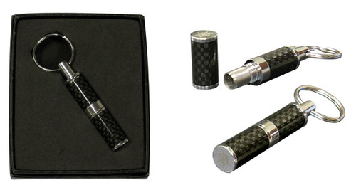 Polished Carbon Fiber & Chrome Bullet Cutter in Gift Box  High Polished Authentic Carbon Fiber Punch Cutter with Chrome Plated Accents. Push Button Action Ejects Tobacco After Use