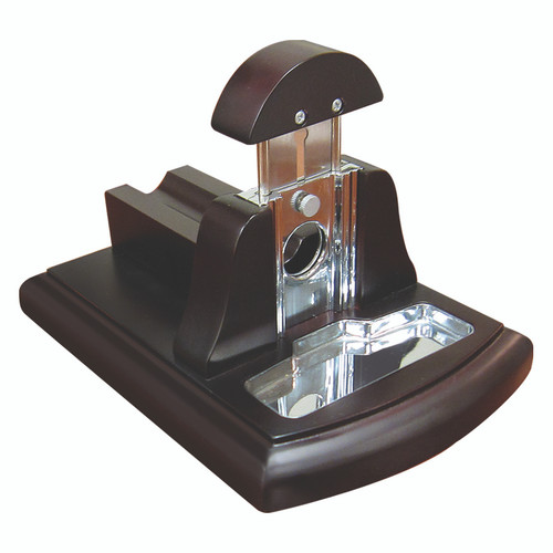 Walnut Desktop Guillotine Cutter with Tobacco Catch Tray  Wood Bed Aligns for Perfect Cut Every Time Safety Lock Keeps Blade in Place Tobacco Catch Tray