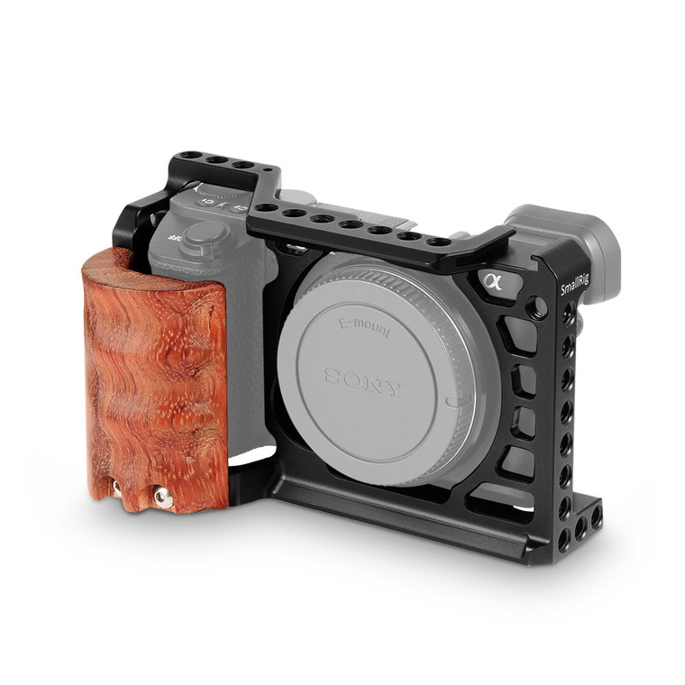 SmallRig Cage with Wooden Hand Grip for Sony Alpha A6500/ILCE-6500 4K Digital Mirrorless Camera 2097