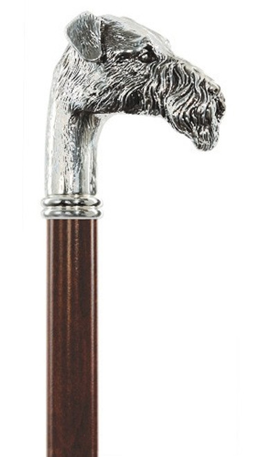 Silver Plated Fox Terrier Dog Cane