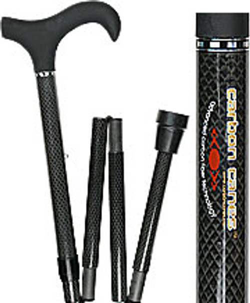 Folding Carbon Fiber Derby Walking Cane with Adjustable Carbon Fiber Shaft and Collar