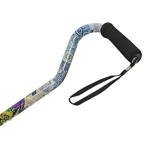 Ladies Offset Handle Self Standing Tip Peacock Print Walking Cane