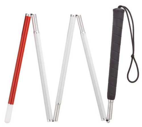 "48"" Folding Red Tipped Walking Cane For The Blind or Visually Impaired"