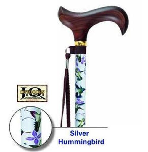 Silver Hummingbird Adjustable Walking Cane
