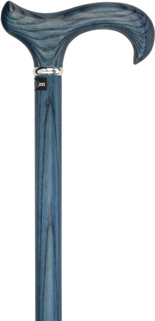 Blue Denim Derby Walking Cane With Ash Wood Shaft and Silver Collar