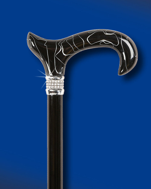 Black Pearl Diamond Designer Adjustable Cane Exquisite Canes
