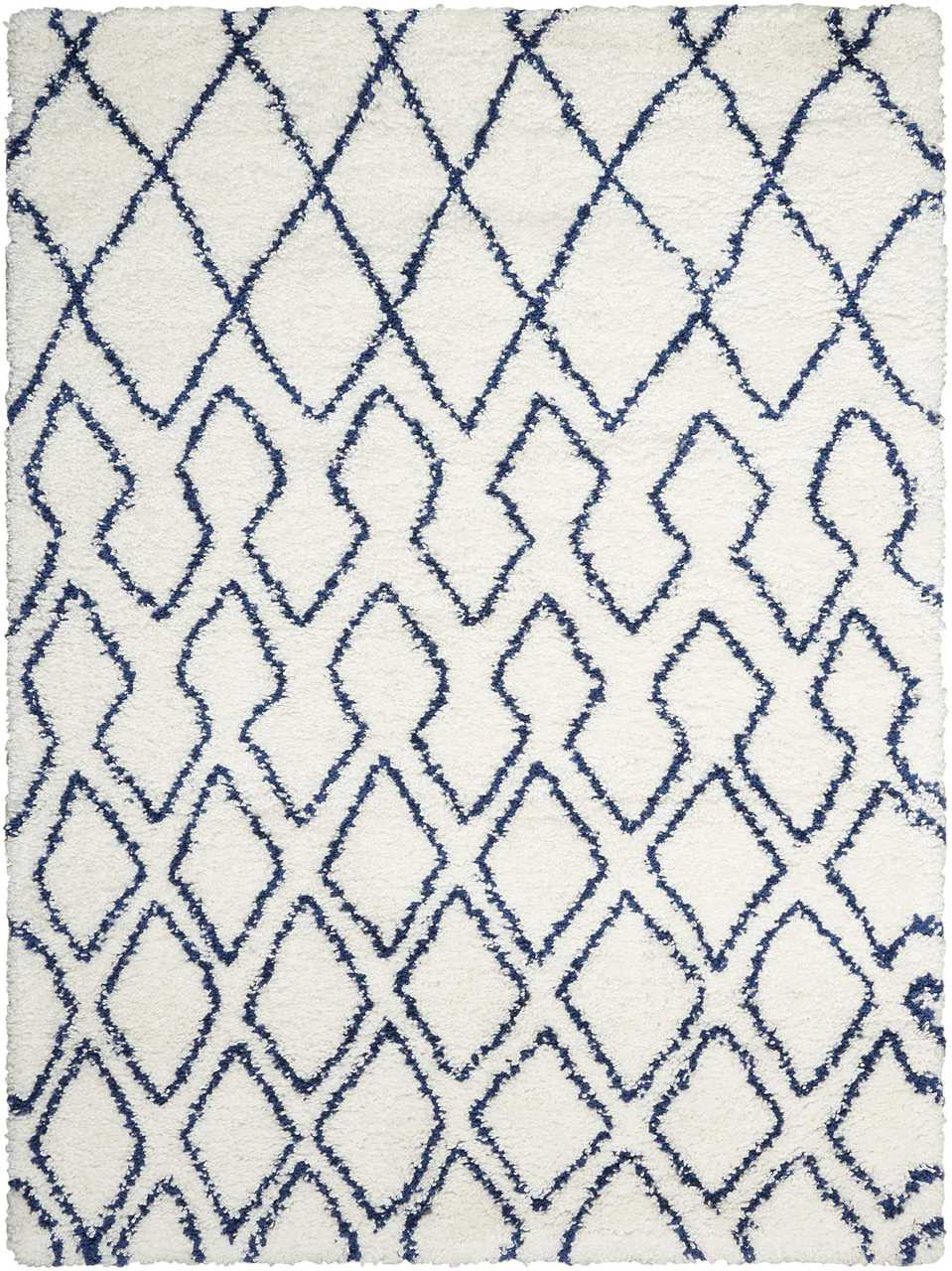 Picture of: Calvin Klein Riad Ivory Navy Shag Area Rug By Nourison Free Shipping Rug Fashion Store