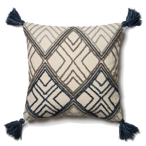 Magnolia Home P0425 BLUE IVORY Pillow by Joanna Gaines