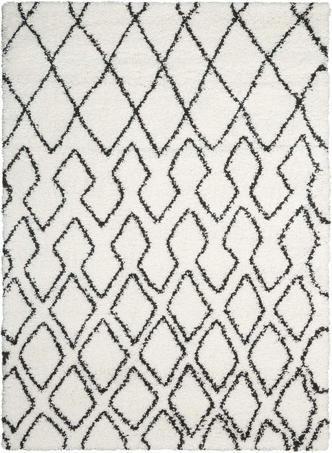 Calvin Klein Riad Ivory/Charcoal Shag Area Rug by Nourison