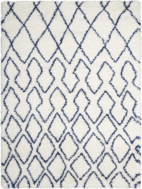 Calvin Klein Riad Ivory/Navy Shag Area Rug by Nourison