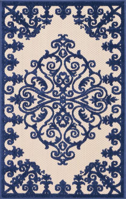Nourison Aloha Dark Blue and White Textured Rug - ALH12-NAVY