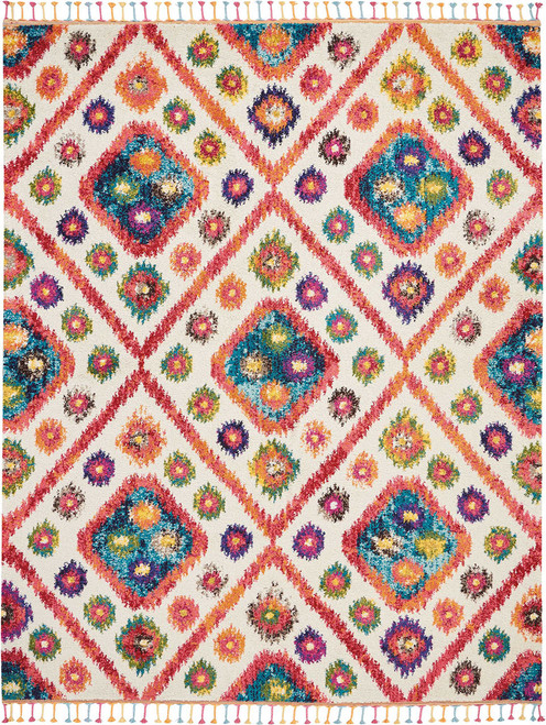 Nourison Nomad White Pink Colorful Area Rug