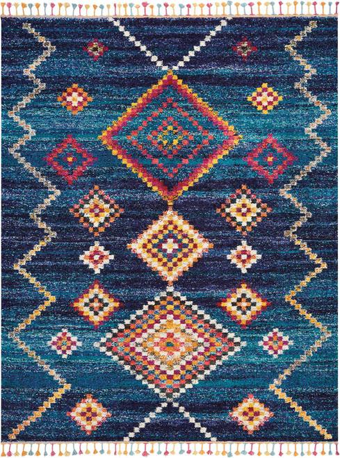 Nourison Nomad Dark Blue Multicolor Scandinavian Area Rug