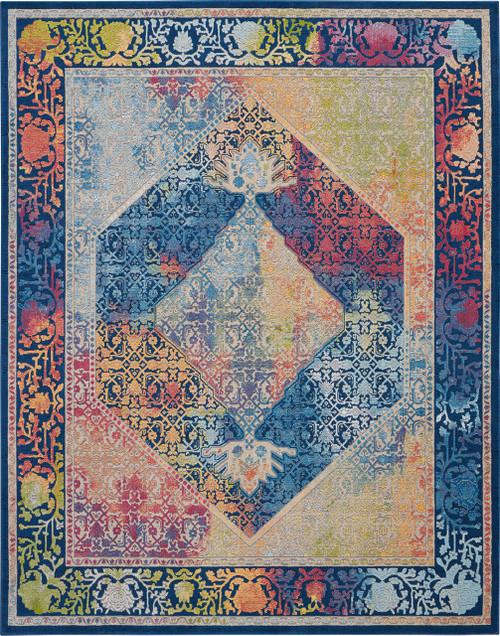 Nourison Ankara Global Blue Multicolor Boho Area Rug