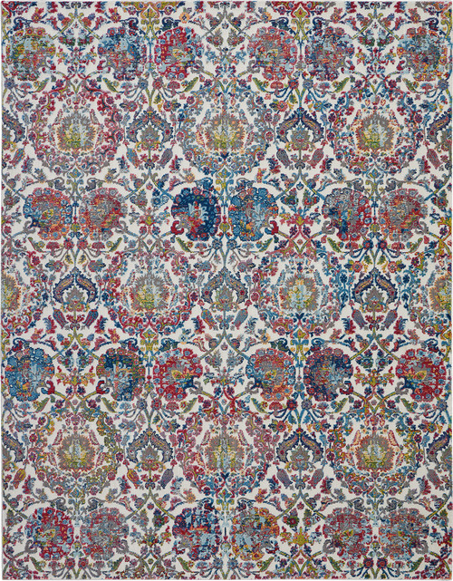 Nourison Ankara Global Blue and Ivory French Country Area Rug