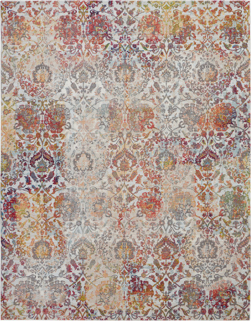 Nourison Ankara Global White and Orange French Country Area Rug