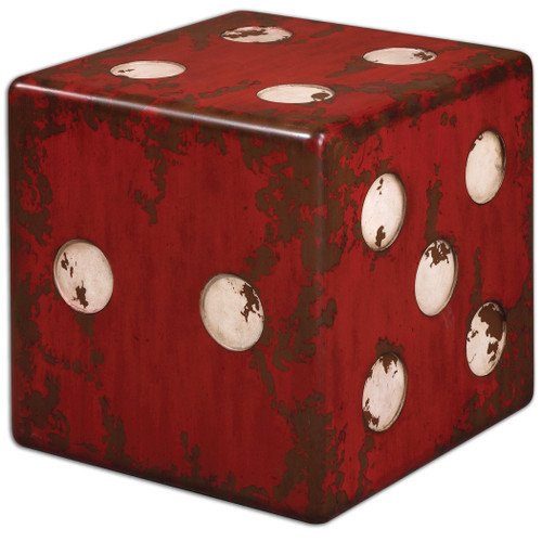 Uttermost Dice Red Accent Table by Matthew Williams