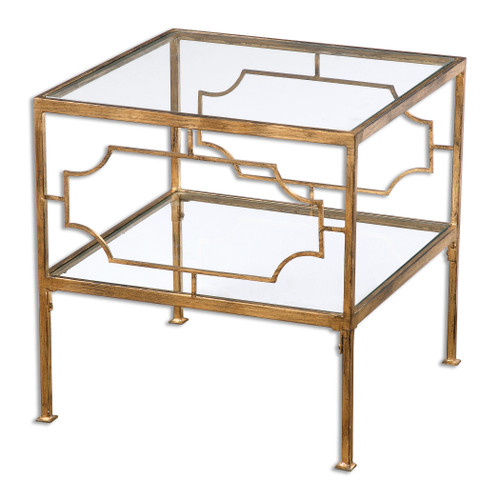Uttermost Genell Gold Cube Table by Matthew Williams