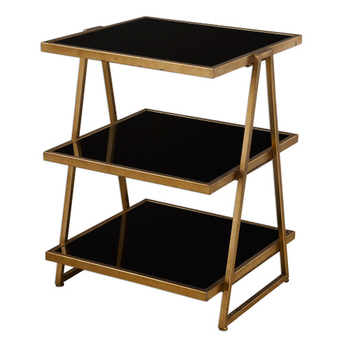 Uttermost Garrity Black Glass Accent Table by Grace Feyock