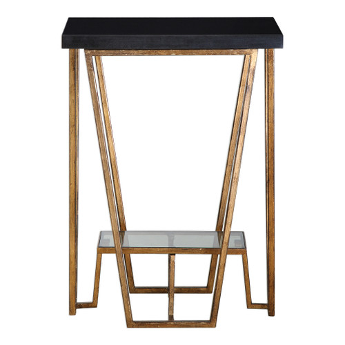Uttermost Agnes Black Granite Accent Table by Matthew Williams