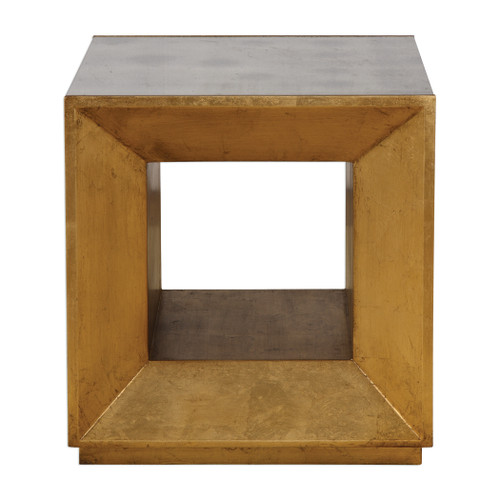 Uttermost Flair Gold Cube Table by David Frisch