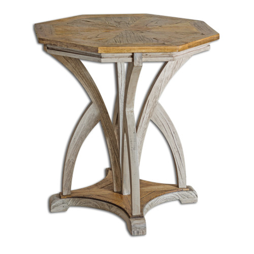 Uttermost Ranen Aged White Accent Table by Matthew Williams
