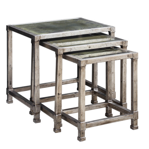 Uttermost Keanna Antiqued Silver Nesting Tables, S/3