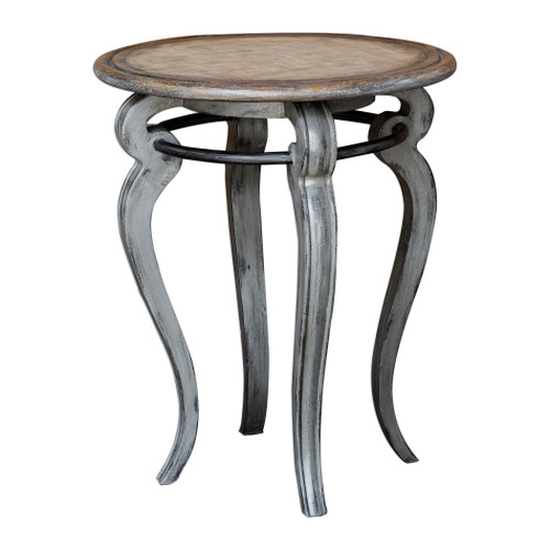 Uttermost Mariah Round Gray Accent Table by Matthew Williams