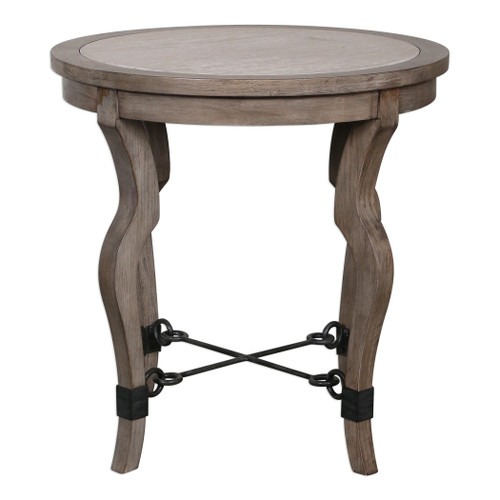 Uttermost Blanche Travertine Lamp Table by Matthew Williams