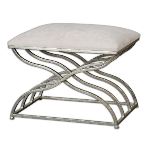 Uttermost Shea Satin Nickel Small Bench by Grace Feyock