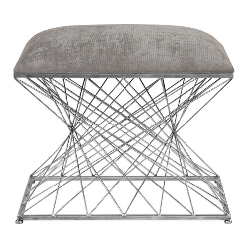 Uttermost Zelia Silver Accent Stool by Grace Feyock