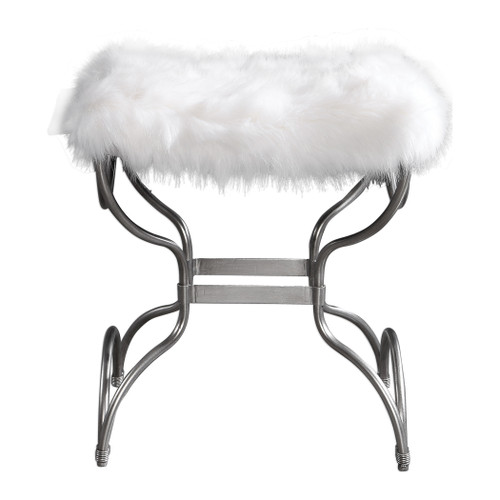 Uttermost Channon White Fur Small Bench by Matthew Williams