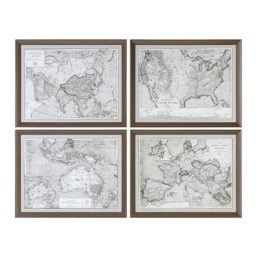 Uttermost World Maps Framed Prints S/4 by Grace Feyock