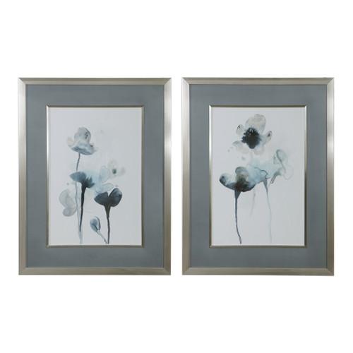 Uttermost Midnight Blossoms Framed Prints Set/2